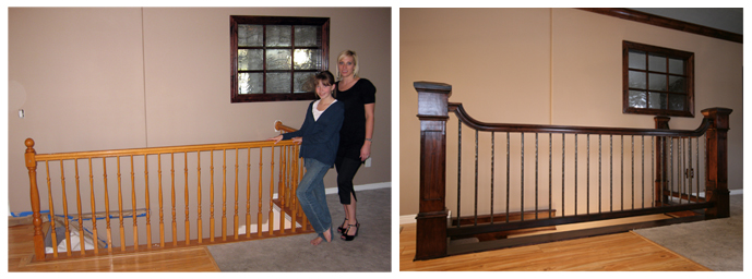 Before and After: Wood to Wrought Iron Balustrade