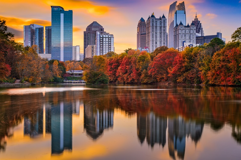 Atlanta Skyline During Fall With Reflection on Water